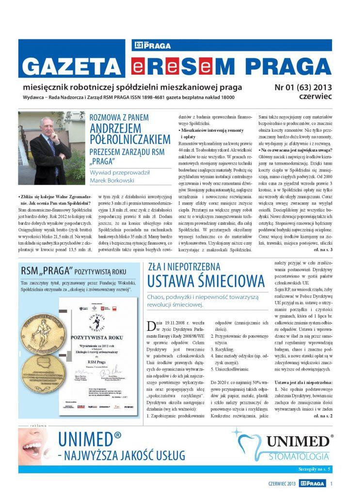 Gazeta nr 1 (63) Czerwiec 2013