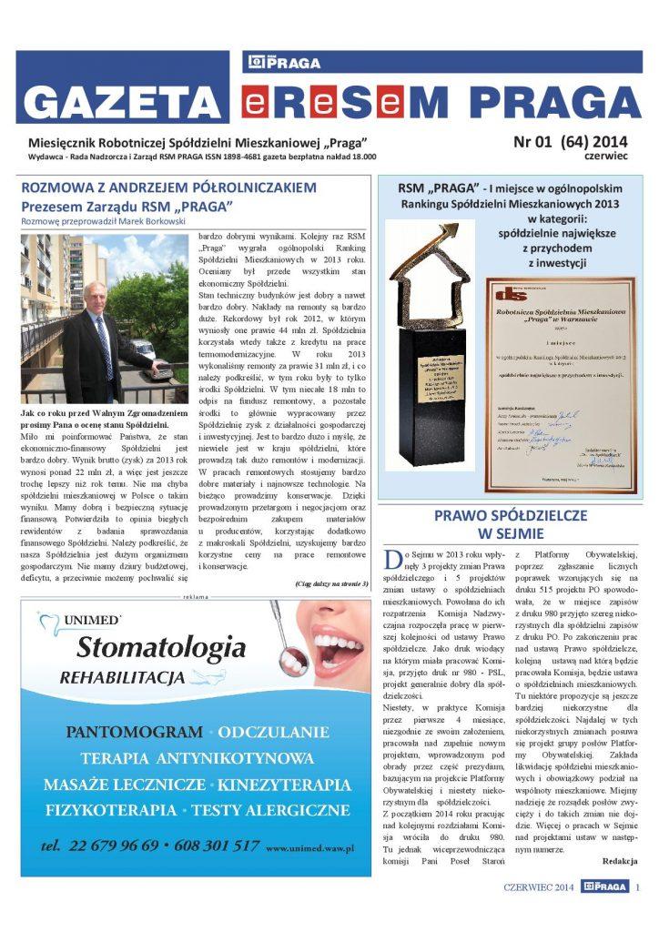 Gazeta nr 1 (64) Czerwiec 2014