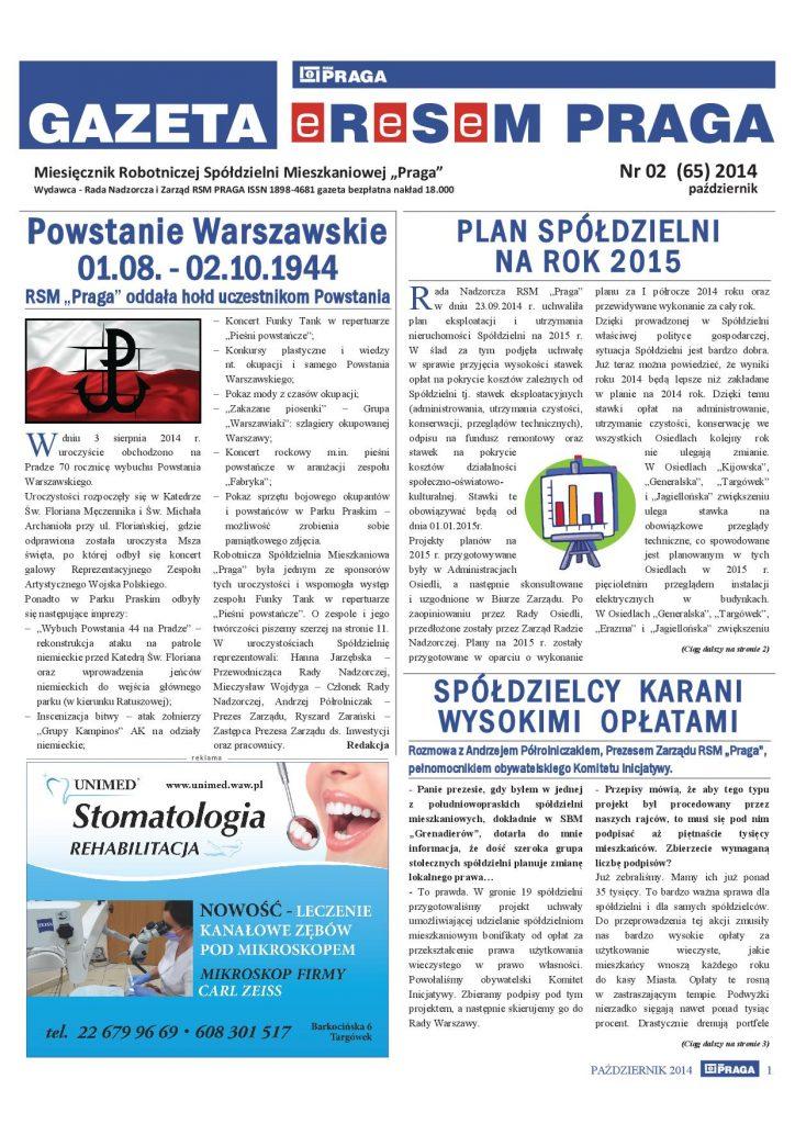 Gazeta nr 2 (65) Październik 2014