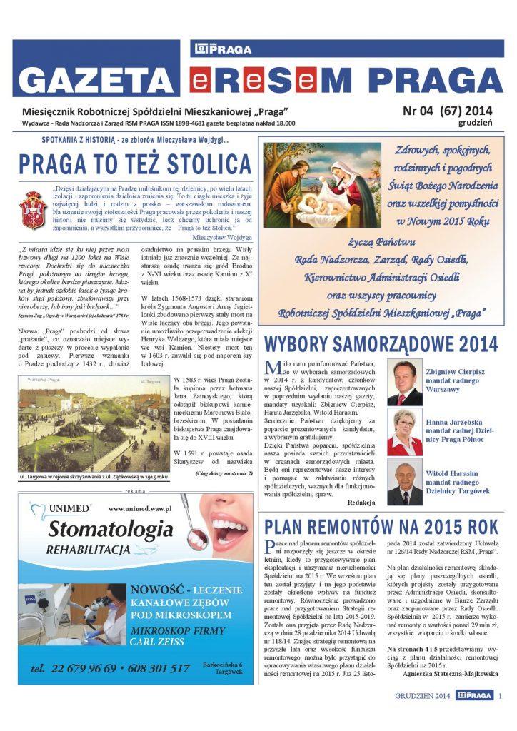 Gazeta nr 4 (67) Grudzień 2014