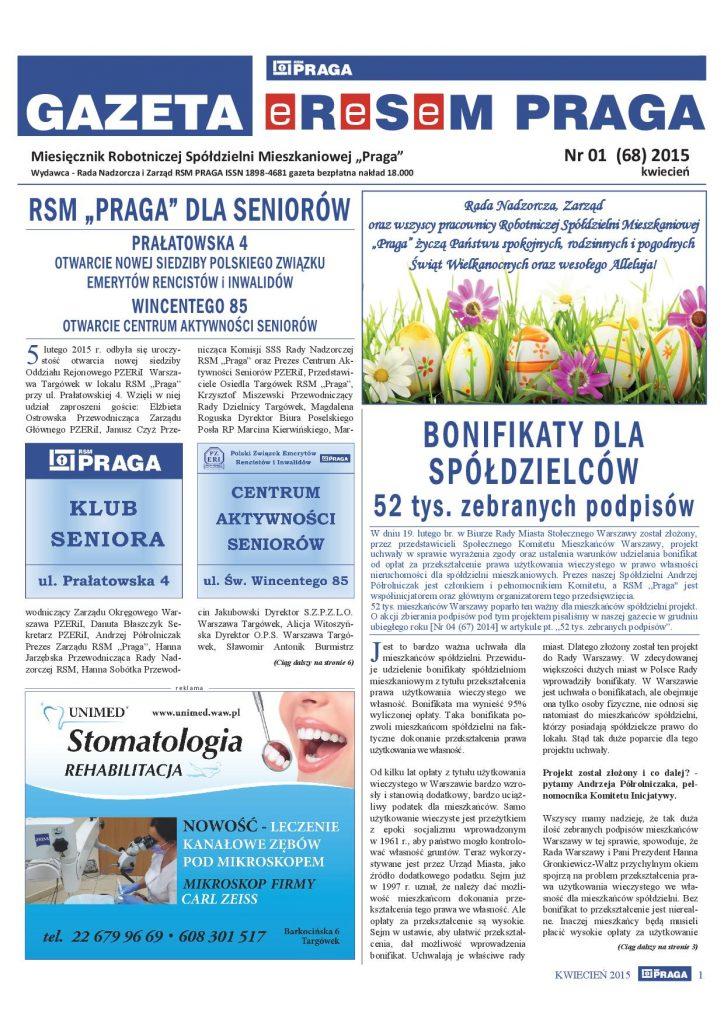 Gazeta nr 1 (68) Kwiecień 2015