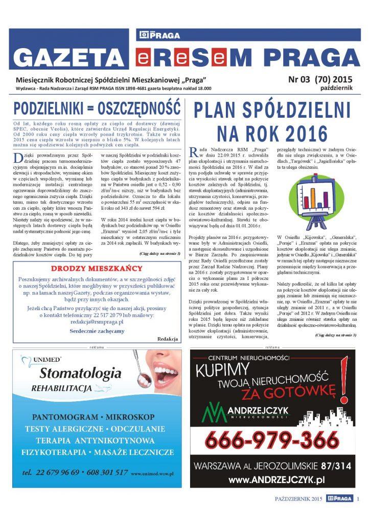 Gazeta nr 3 (70) Październik 2015