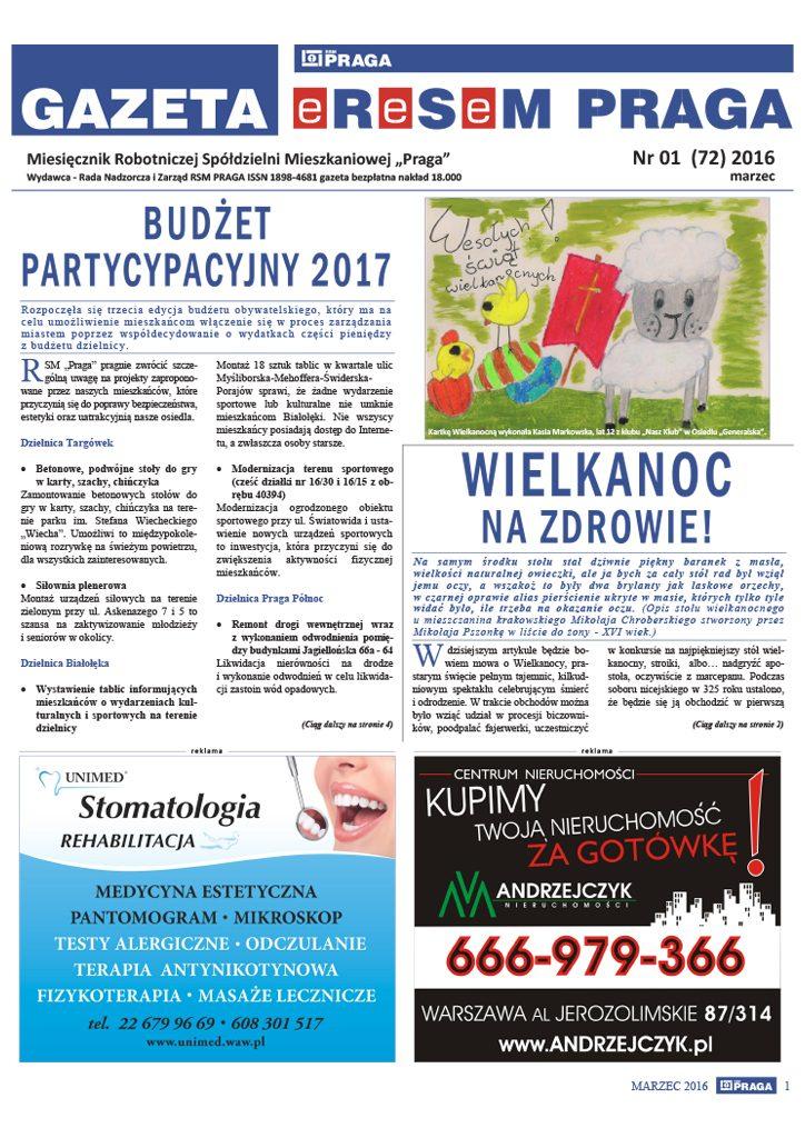 Gazeta nr 1 (72) Marzec 2016