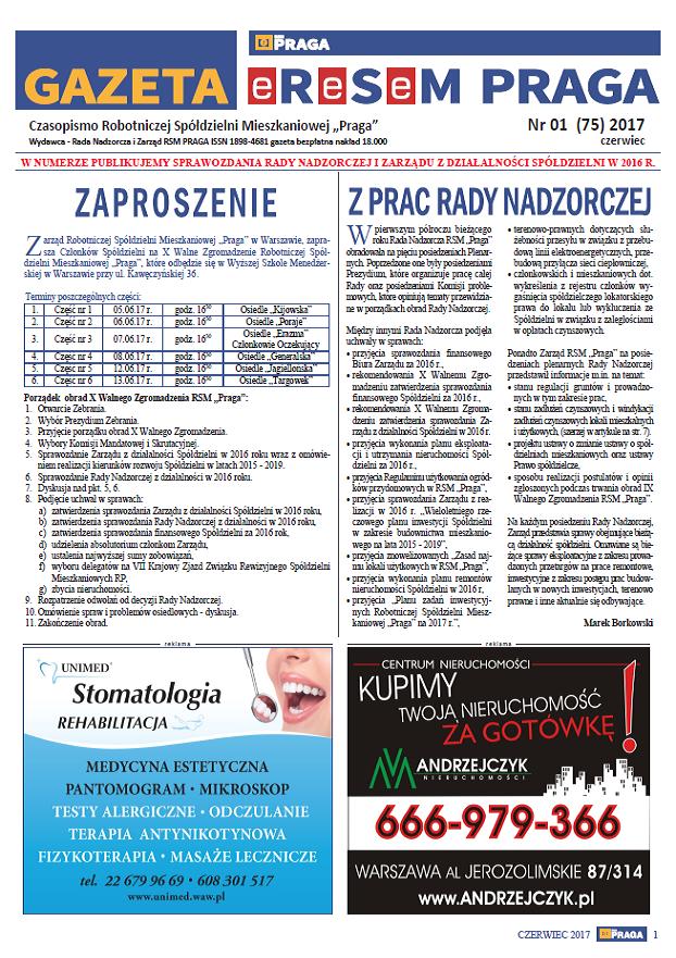 Gazeta nr 1 (75) Czerwiec 2017