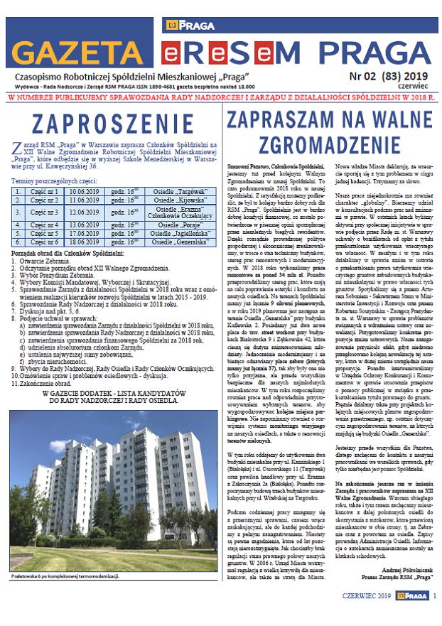 Gazeta nr 2 (83) Czerwiec 2019